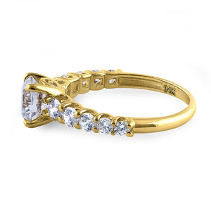 Solid 14K Yellow Gold Regal Round Cut CZ Engagement Ring