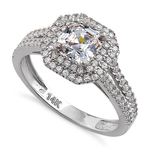 Solid 14K White Gold Asscher Cut Double Halo CZ Engagement Ring