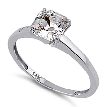 Load image into Gallery viewer, Solid 14K White Gold Asscher 6.5mm Clear CZ Engagement Ring