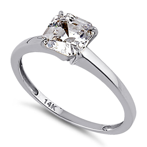 Solid 14K White Gold Asscher 6.5mm Clear CZ Engagement Ring