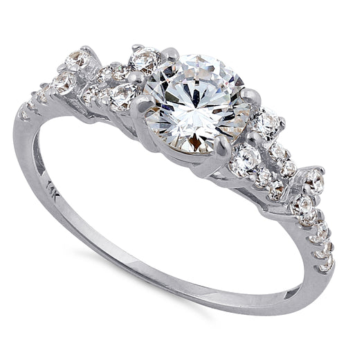 Solid 14K White Gold Engagement Round Clear CZ Ring