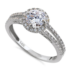 Solid 14K White Gold Round Cut Halo CZ Engagement Ring