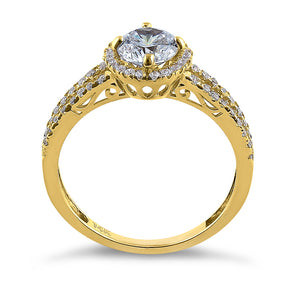 Solid 14K Yellow Gold Round Cut Halo CZ Engagement Ring