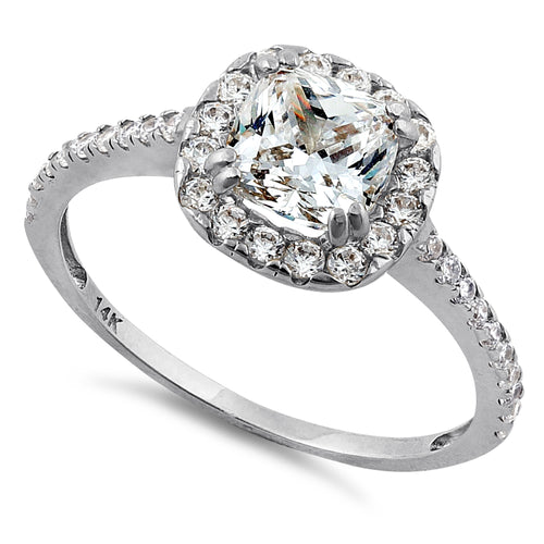 Solid 14K White Gold Cushion Halo Engagement Clear CZ Ring