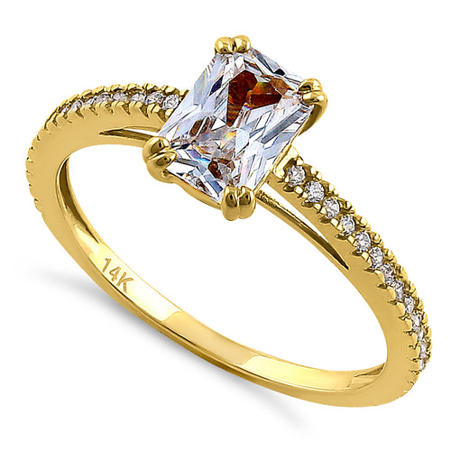 Solid 14K Yellow Gold Raidiant Cut CZ Engagement Ring
