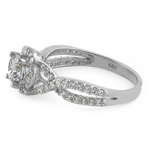 Solid 14K White Gold Twist Round Halo Engagement Clear CZ Ring