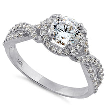 Load image into Gallery viewer, Solid 14K White Gold Twist Round Halo Engagement Clear CZ Ring