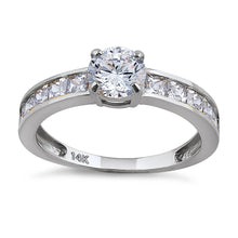 Load image into Gallery viewer, Solid 14K White Gold Round & Princess Cut CZ Engagement Ring