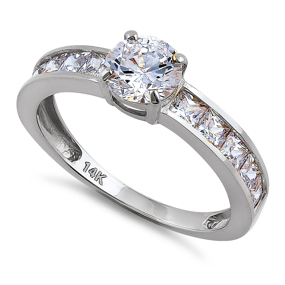 Solid 14K White Gold Round & Princess Cut CZ Engagement Ring
