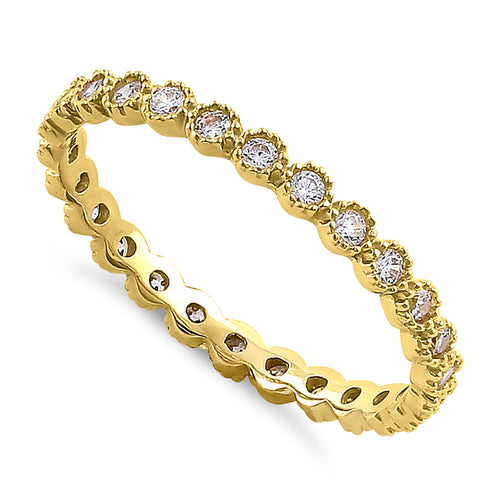 Solid 14K Yellow Gold Inlay Round Cut Eternity CZ Band