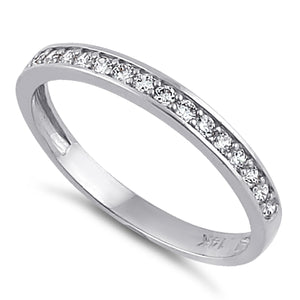 Solid 14K White Gold Half Eternity Wedding Band