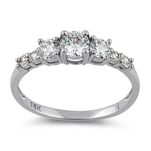 Load image into Gallery viewer, Solid 14K White Gold Triple Round Clear CZ Engagement Ring