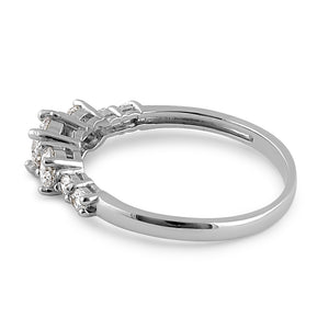 Solid 14K White Gold Triple Round Clear CZ Engagement Ring