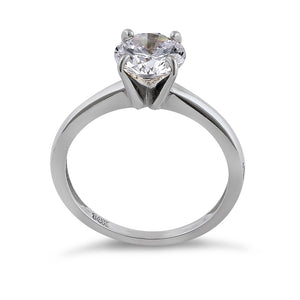 Solid 14K White Gold Solitaire Round CZ Engagement Ring