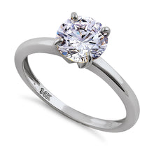 Load image into Gallery viewer, Solid 14K White Gold Solitaire Round CZ Engagement Ring
