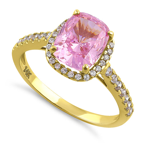 Solid 14K Yellow Gold Cushion Cut Halo Pink CZ Engagement Ring