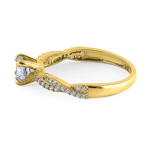 Solid 14K Yellow Gold Round Cut Twist Engagement Ring
