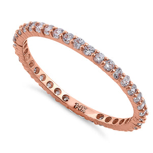 Solid 14K Rose Gold Eternity CZ Band