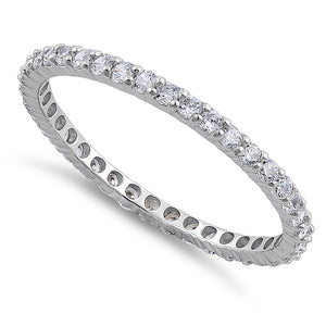 Solid 14K White Gold Eternity CZ Band