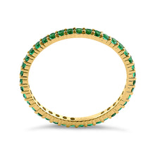 Load image into Gallery viewer, Solid 14K Yellow Gold Eternity Green CZ Ring