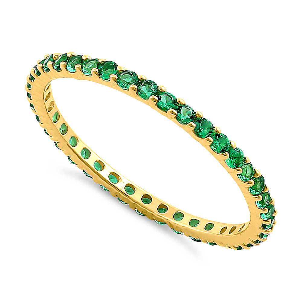 Solid 14K Yellow Gold Eternity Green CZ Ring