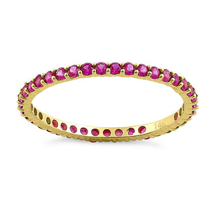 Solid 14K Yellow Gold Eternity Ruby CZ Ring