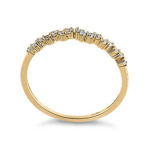 Solid 14k Yellow Gold Simple Cluster Round Clear CZ Ring