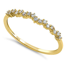 Load image into Gallery viewer, Solid 14k Yellow Gold Simple Cluster Round Clear CZ Ring