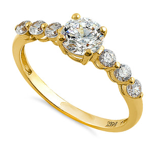Solid 14K Yellow Gold Regal Round CZ Ring