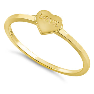 Solid 14K Yellow Gold Love Heart Ring