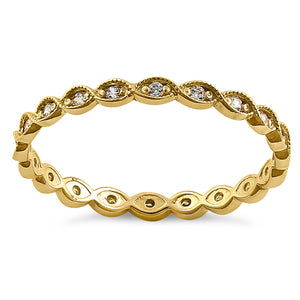 Solid 14K Yellow Gold Eternity Round Clear CZ Ring