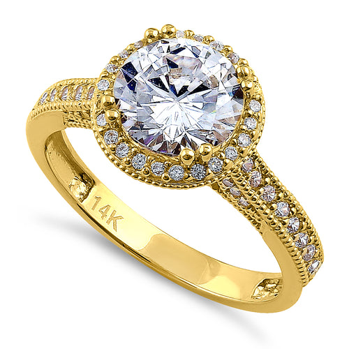 Solid 14K Yellow Gold & Rose Gold Plated Round Cut Halo CZ Engagement Ring