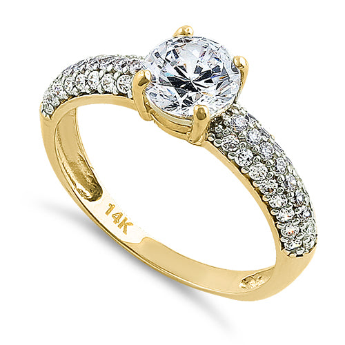 Solid 14K Yellow Gold Noble Round Clear CZ Engagement Ring