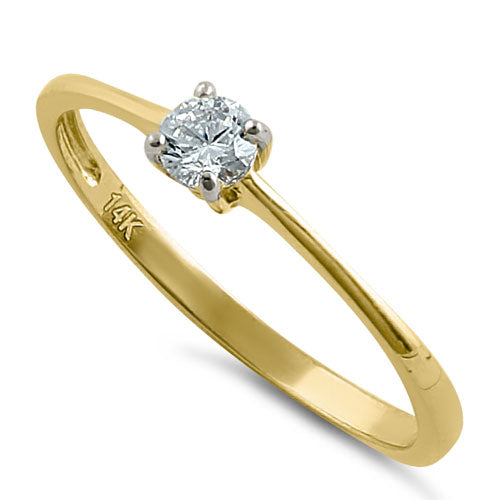 Solid 14K Gold Small Solitaire CZ Ring
