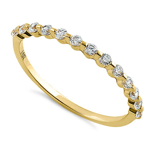 Solid 14K Yellow Gold Row Round Clear CZ Ring