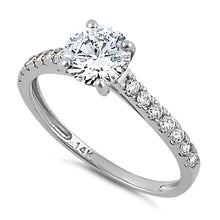Load image into Gallery viewer, Solid 14K White Gold Solitaire Round Clear CZ Engagement Ring