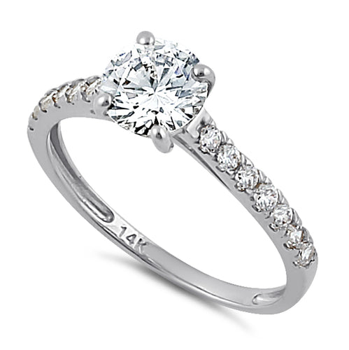 Solid 14K White Gold Solitaire Round Clear CZ Engagement Ring