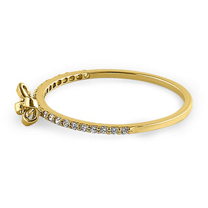 Solid 14K Yellow Gold Bow Ribbon Round CZ Ring