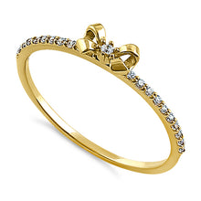 Load image into Gallery viewer, Solid 14K Yellow Gold Bow Ribbon Round CZ Ring