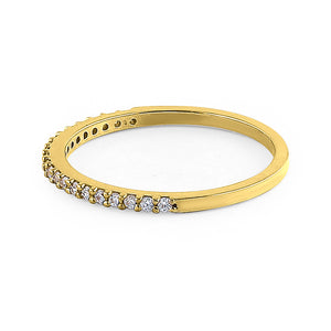 Solid 14K Yellow Gold Round Cut Half Eternity CZ Ring