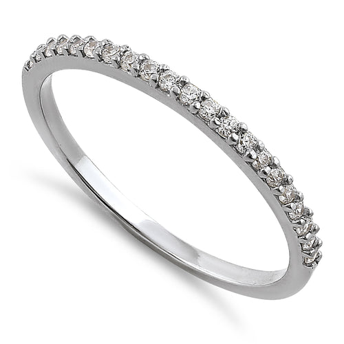 Solid 14K White Gold Round Cut Half Eternity CZ Ring