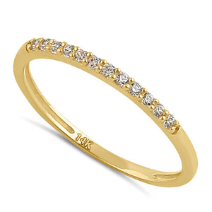 Solid 14K Gold Stackable CZ Ring