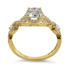 Load image into Gallery viewer, Solid 14K Yellow Gold Regal Twist Halo Round CZ Engagement Ring