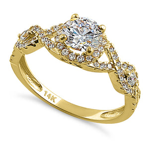 Solid 14K Yellow Gold Regal Twist Halo Round CZ Engagement Ring