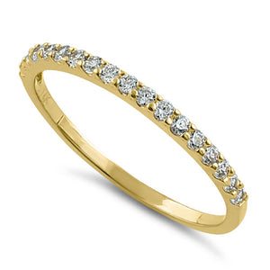 Solid 14K Gold Half Eternity CZ Ring