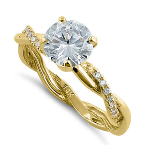 Solid 14K Gold Twisted Solitaire CZ Ring