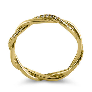 Solid 14K Gold Twisted CZ Ring