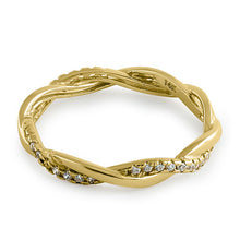 Load image into Gallery viewer, Solid 14K Gold Twisted CZ Ring