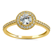 Load image into Gallery viewer, Solid 14K Yellow Gold Halo Round CZ Engagement Ring
