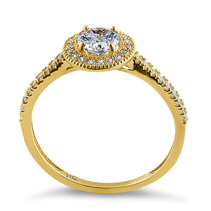 Solid 14K Yellow Gold Halo Round CZ Engagement Ring